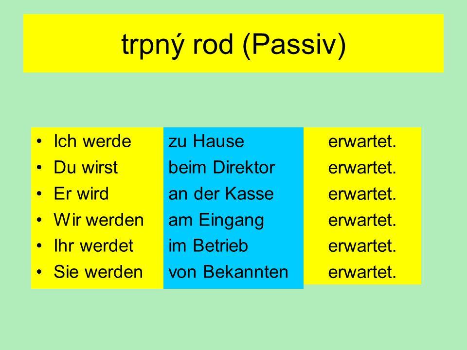 trpný rod (Passiv) Ich werde Du wirst Er wird Wir werden Ihr werdet