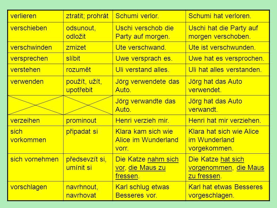 verlieren ztratit; prohrát. Schumi verlor. Schumi hat verloren. verschieben. odsunout, odložit.