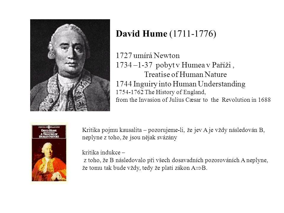 David Hume (1711-1776) 1727 umírá Newton