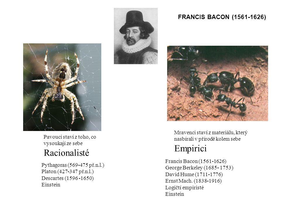 Empirici Racionalisté FRANCIS BACON (1561-1626)