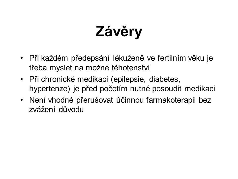 Závěry Při každém předepsání lékuženě ve fertilním věku je třeba myslet na možné těhotenství.