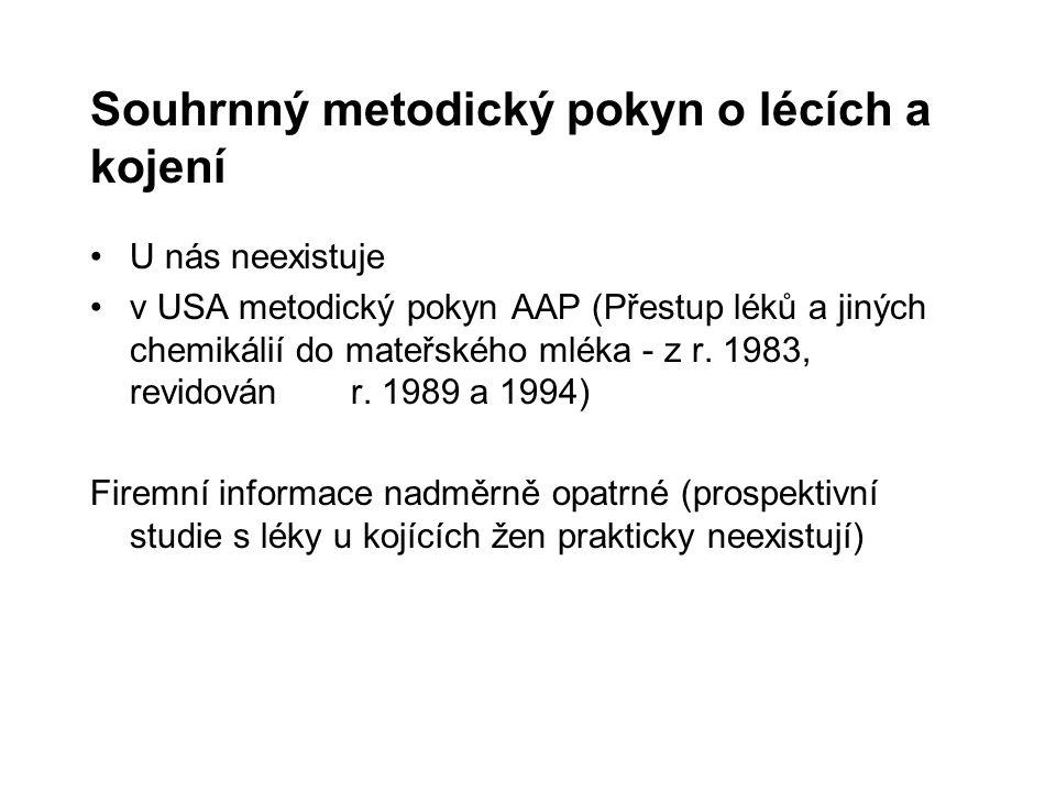 Souhrnný metodický pokyn o lécích a kojení