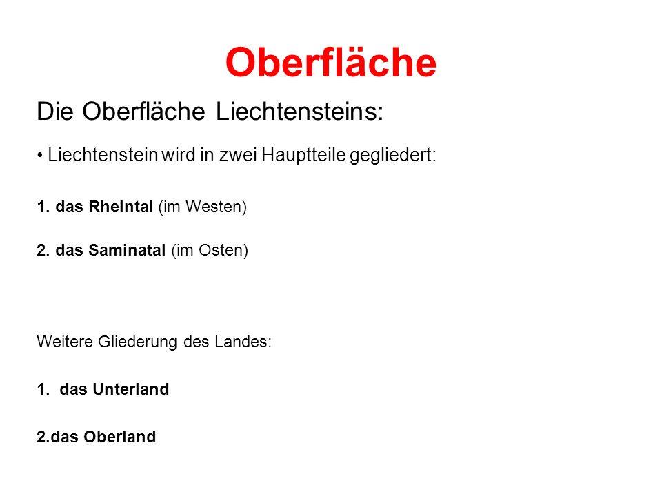 Oberfläche Die Oberfläche Liechtensteins: