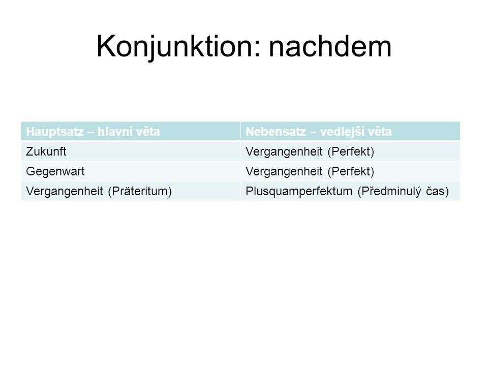 Konjunktion: nachdem Hauptsatz – hlavní věta Nebensatz – vedlejší věta