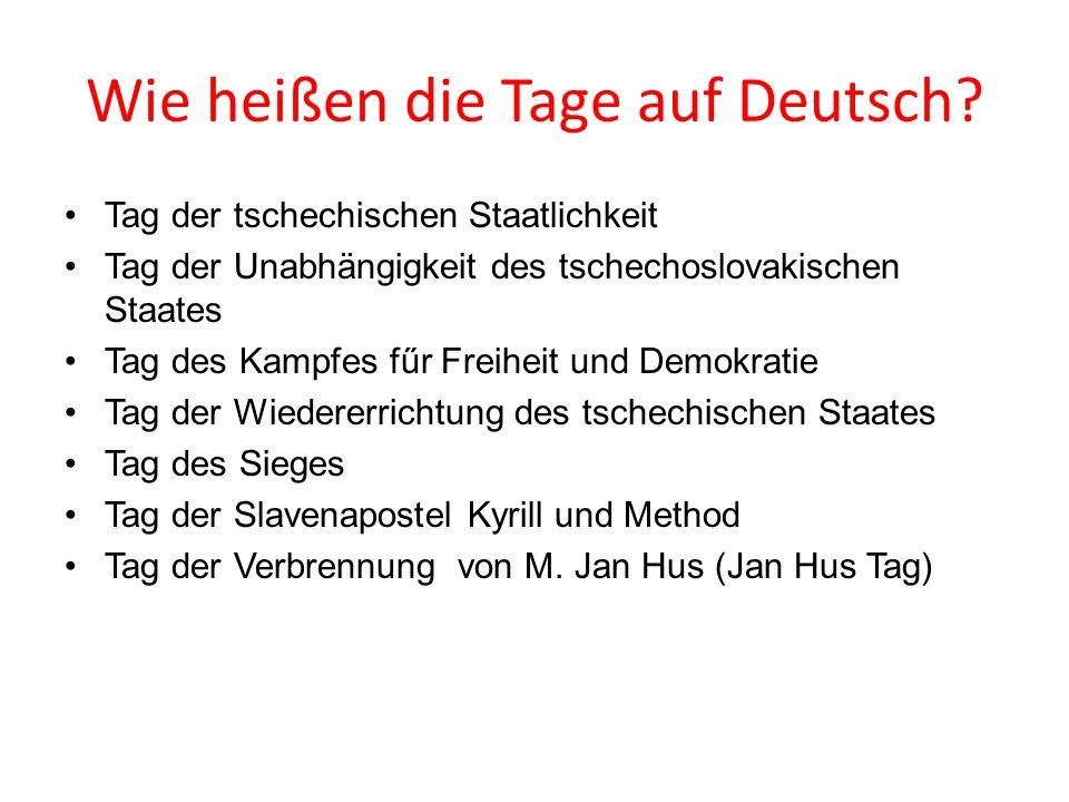 Wie heißen die Tage auf Deutsch