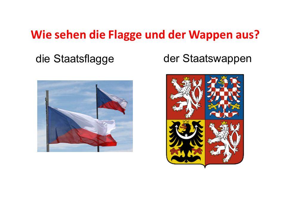 Wie sehen die Flagge und der Wappen aus