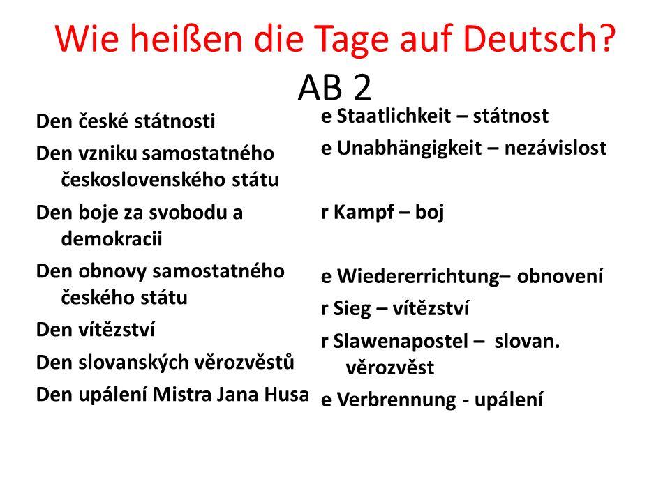 Wie heißen die Tage auf Deutsch AB 2