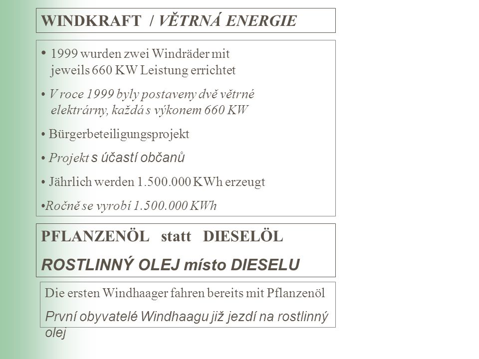 WINDKRAFT / VĚTRNÁ ENERGIE