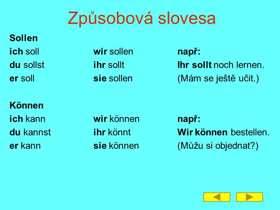 Způsobová slovesa Sollen ich soll wir sollen např: