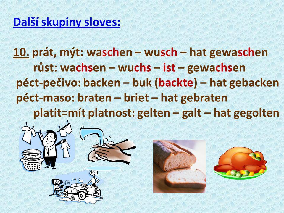 Další skupiny sloves: 10. prát, mýt: waschen – wusch – hat gewaschen. růst: wachsen – wuchs – ist – gewachsen.