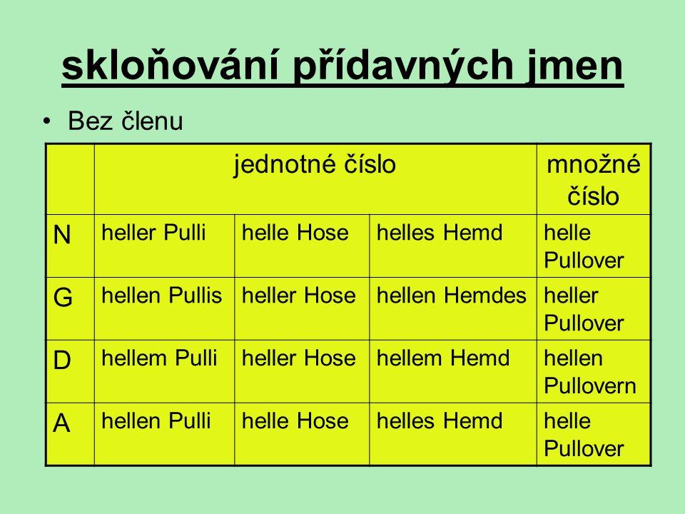 skloňování přídavných jmen