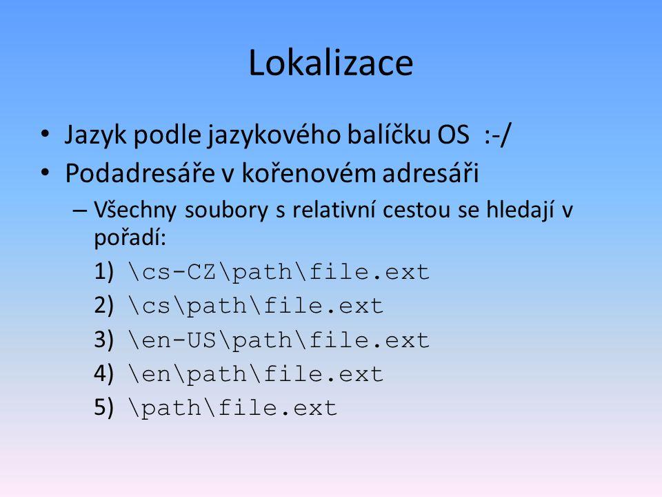 Lokalizace Jazyk podle jazykového balíčku OS :-/
