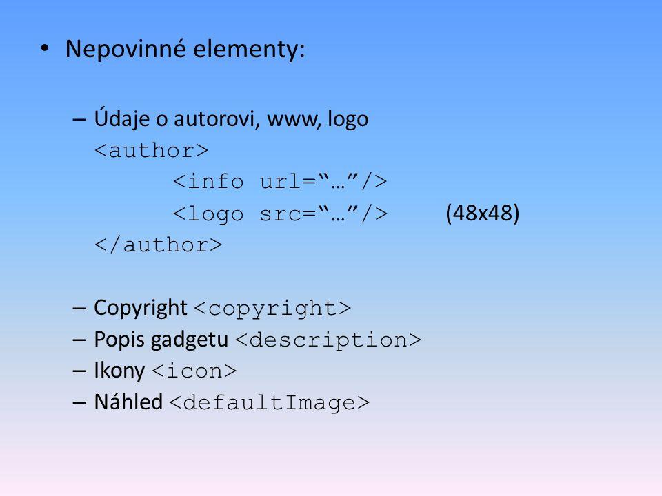 Nepovinné elementy: Údaje o autorovi, www, logo <author>