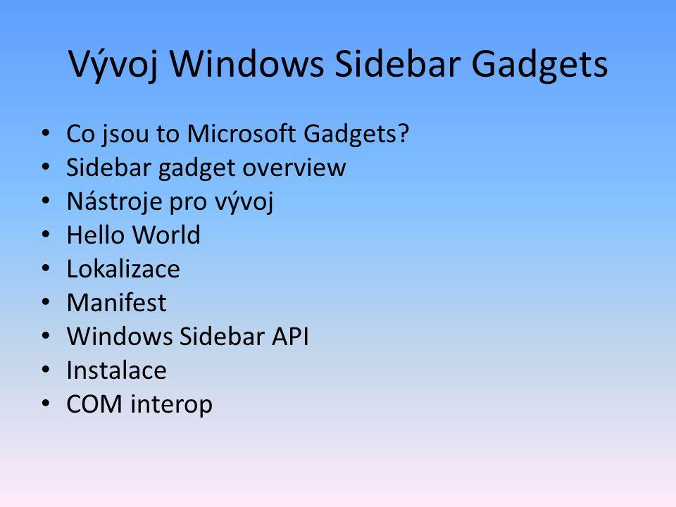 Vývoj Windows Sidebar Gadgets