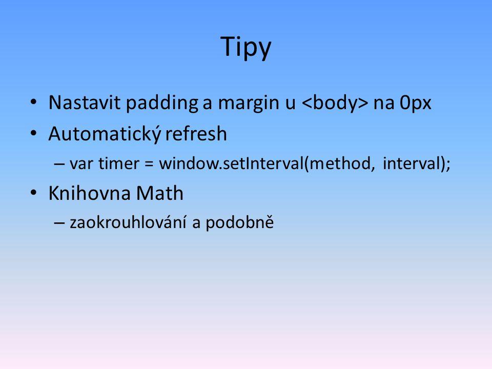 Tipy Nastavit padding a margin u <body> na 0px