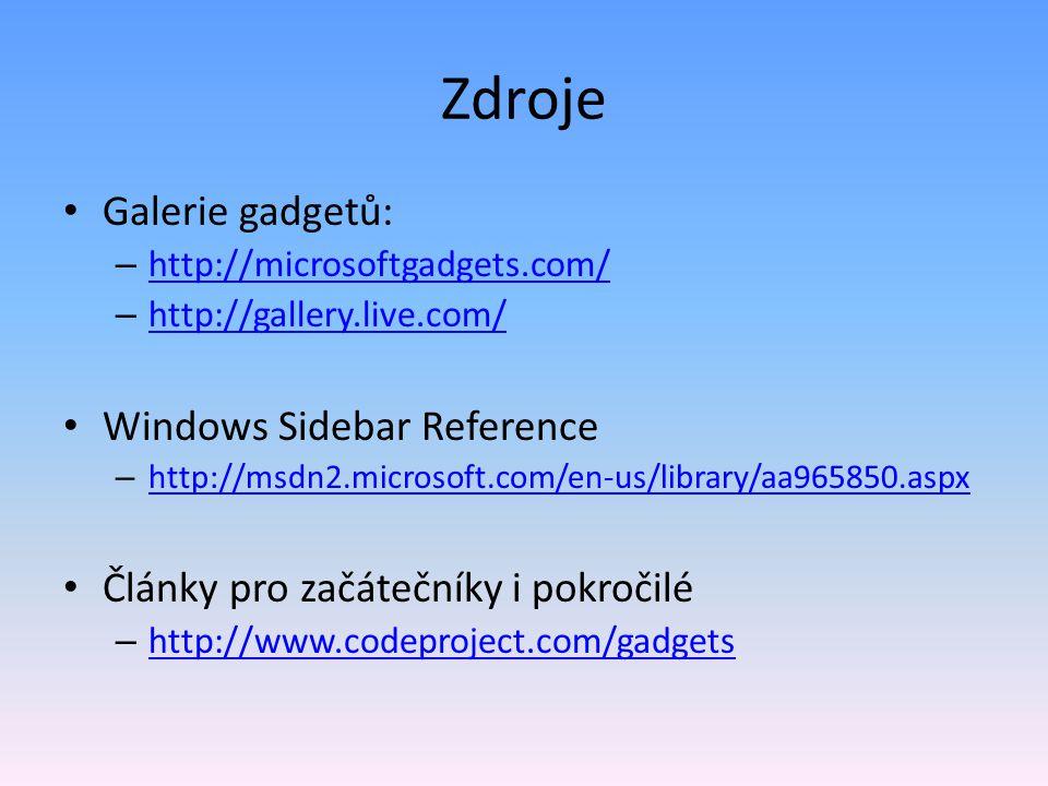 Zdroje Galerie gadgetů: Windows Sidebar Reference