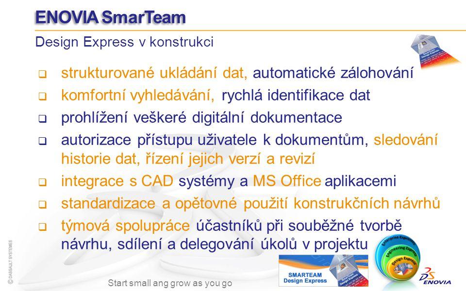 ENOVIA SmarTeam strukturované ukládání dat, automatické zálohování