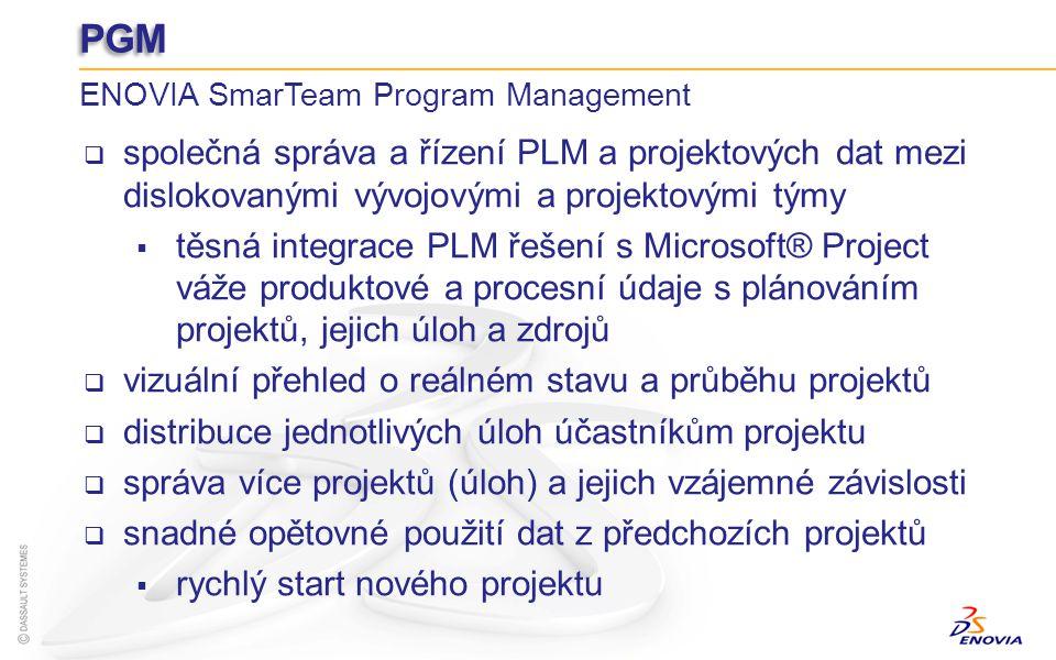 PGM ENOVIA SmarTeam Program Management. společná správa a řízení PLM a projektových dat mezi dislokovanými vývojovými a projektovými týmy.