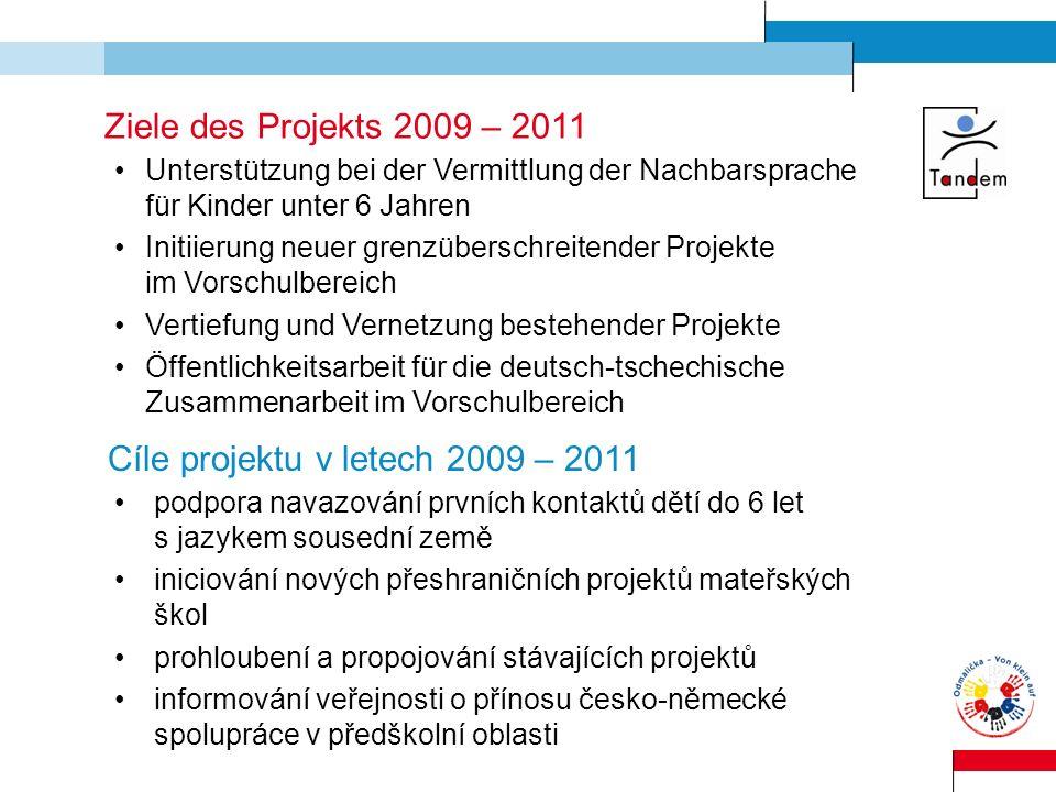 Cíle projektu v letech 2009 – 2011
