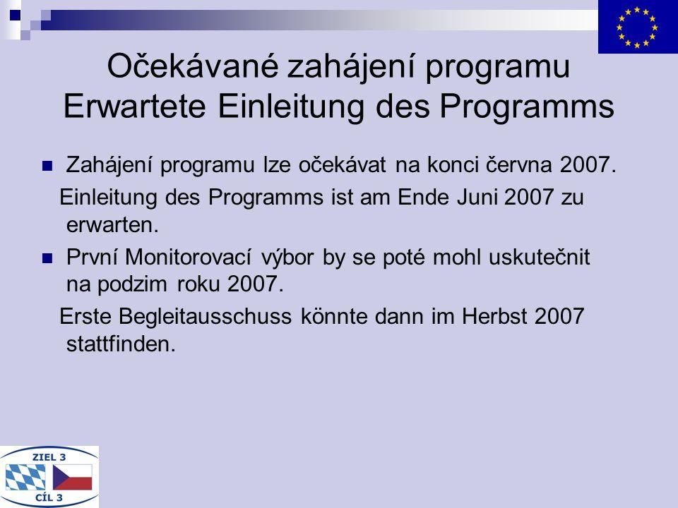 Očekávané zahájení programu Erwartete Einleitung des Programms