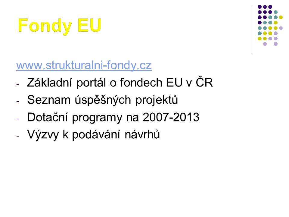 Fondy EU www.strukturalni-fondy.cz Základní portál o fondech EU v ČR