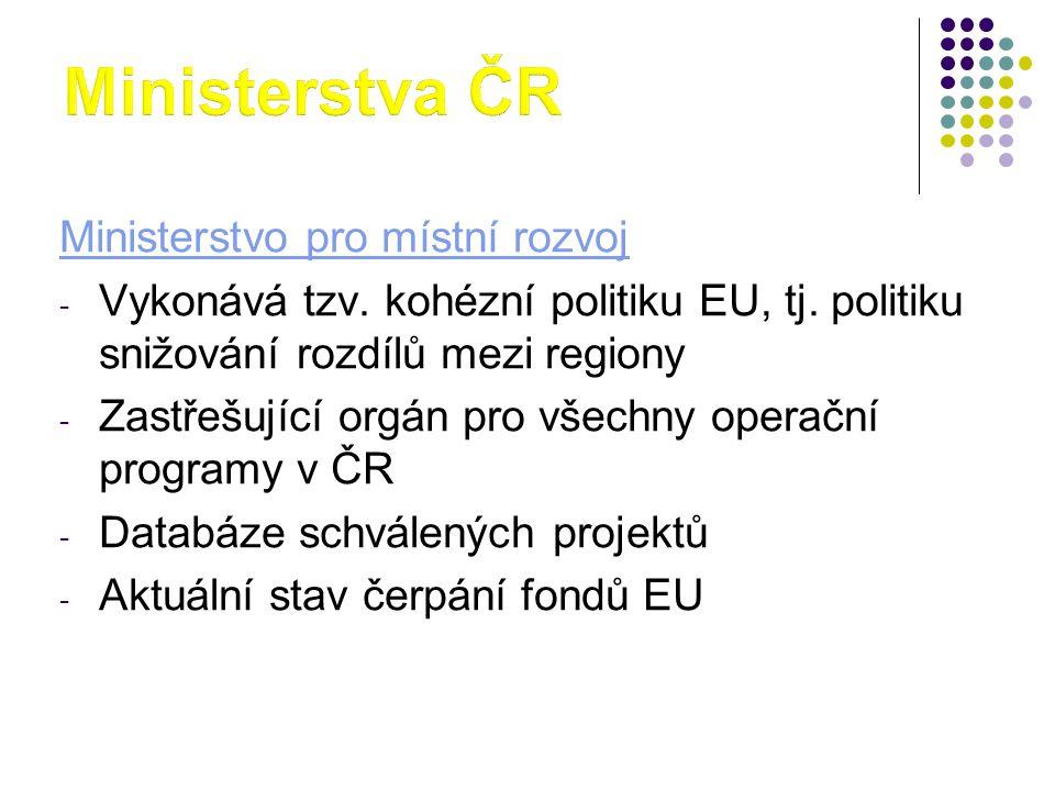 Ministerstva ČR Ministerstvo pro místní rozvoj
