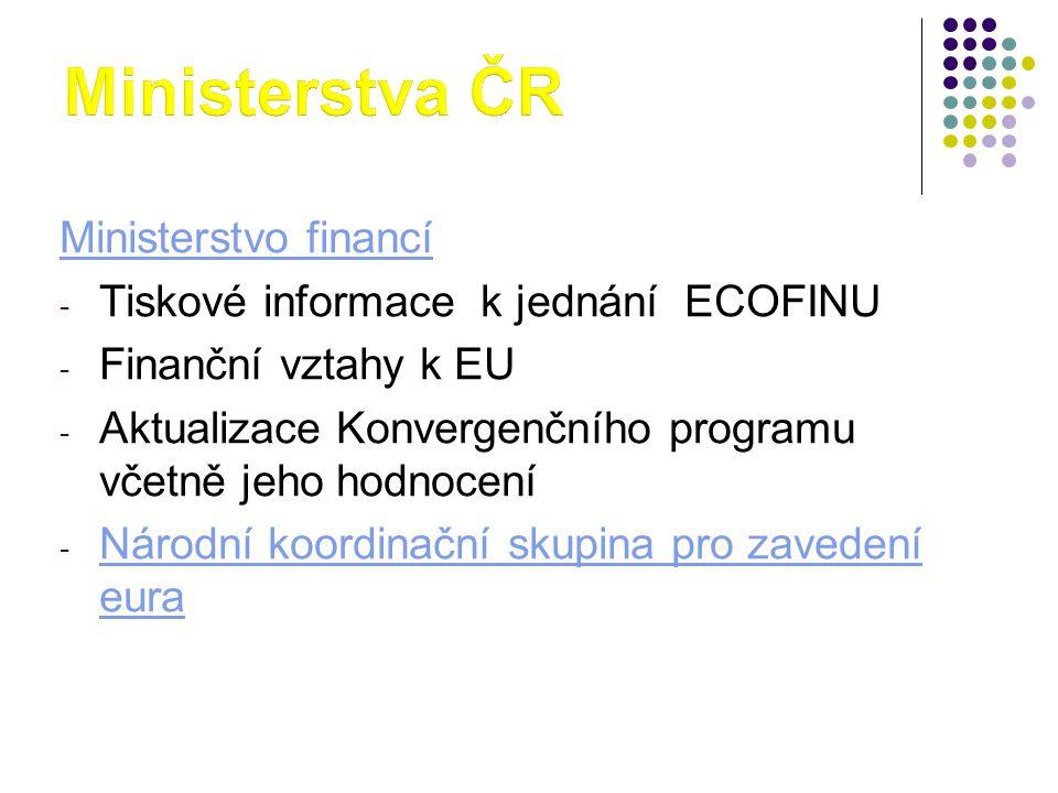 Ministerstva ČR Ministerstvo financí