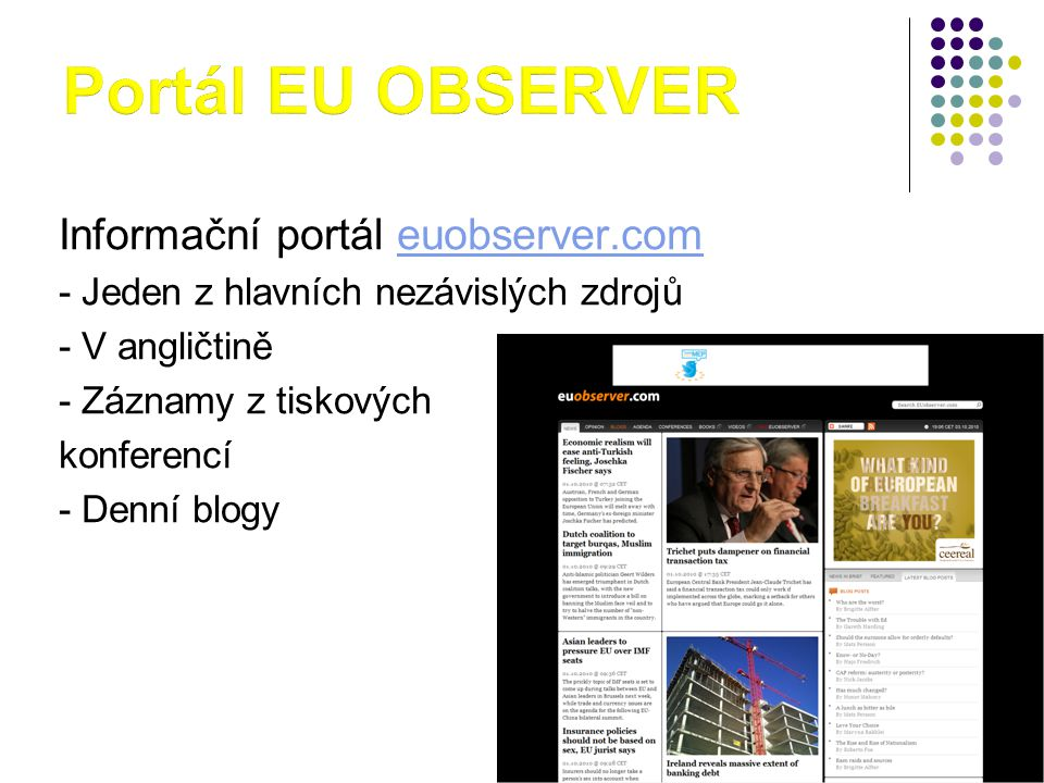 Portál EU OBSERVER Informační portál euobserver.com