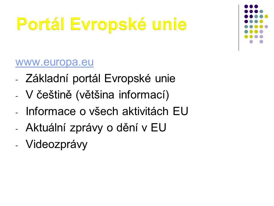 Portál Evropské unie www.europa.eu Základní portál Evropské unie