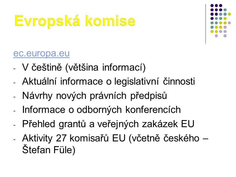 Evropská komise ec.europa.eu V češtině (většina informací)