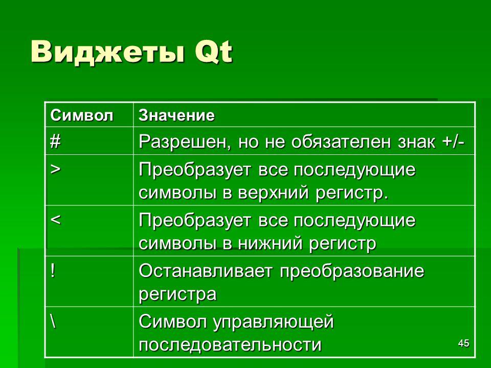 Виджеты Qt # Разрешен, но не обязателен знак +/- >
