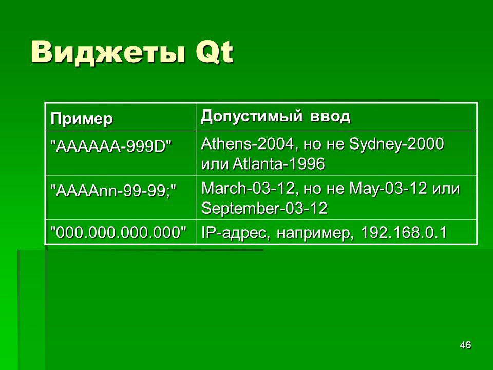 Виджеты Qt Пример Допустимый ввод AAAAAA-999D