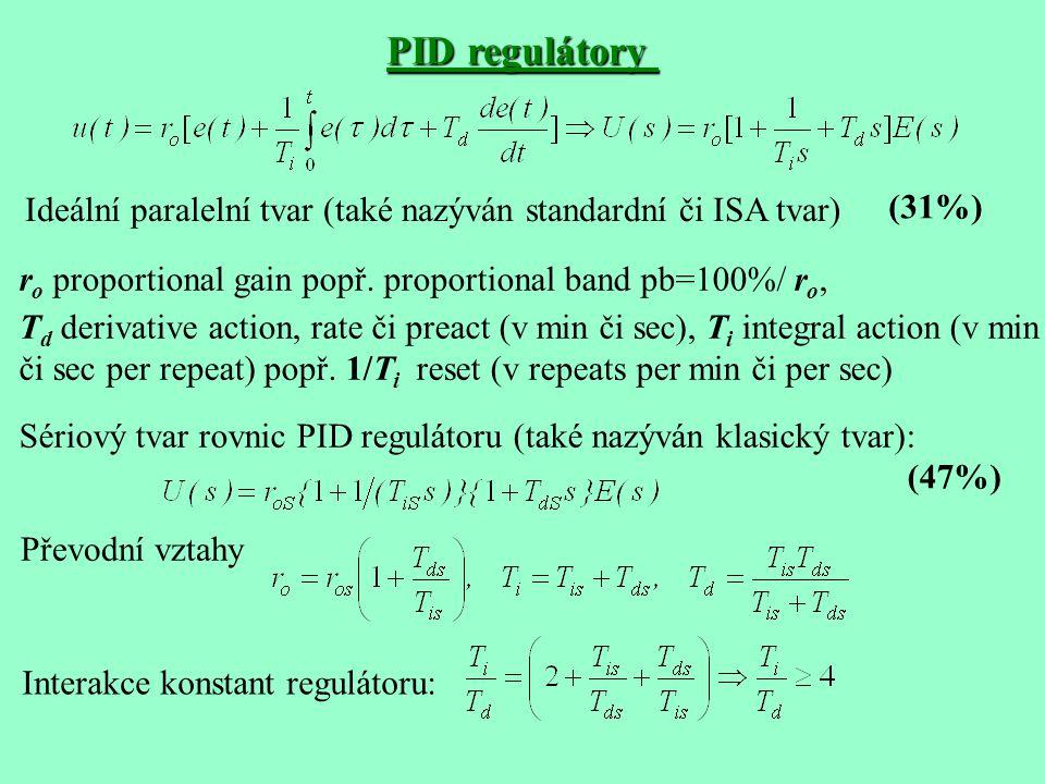 PID regulátory Ideální paralelní tvar (také nazýván standardní či ISA tvar) ro proportional gain popř. proportional band pb=100%/ ro,