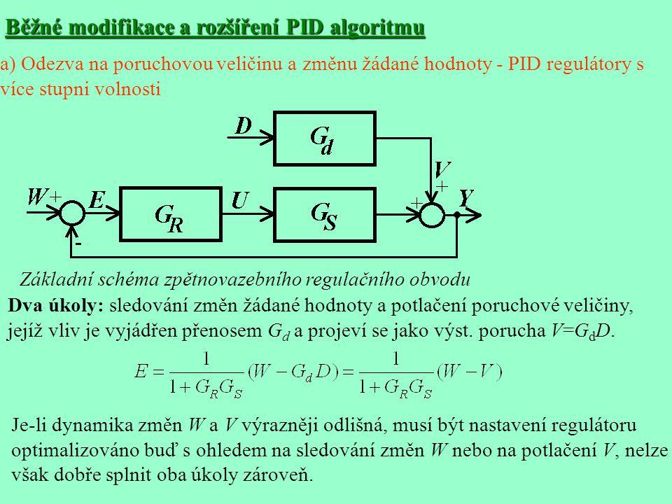 Běžné modifikace a rozšíření PID algoritmu