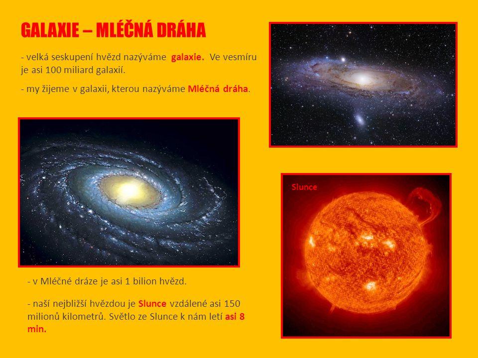 GALAXIE – MLÉČNÁ DRÁHA - velká seskupení hvězd nazýváme galaxie. Ve vesmíru je asi 100 miliard galaxií.