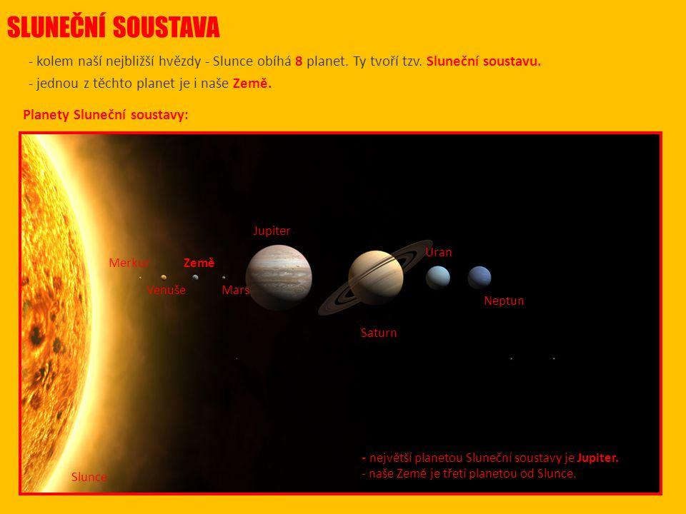 SLUNEČNÍ SOUSTAVA - kolem naší nejbližší hvězdy - Slunce obíhá 8 planet. Ty tvoří tzv. Sluneční soustavu. - jednou z těchto planet je i naše Země.