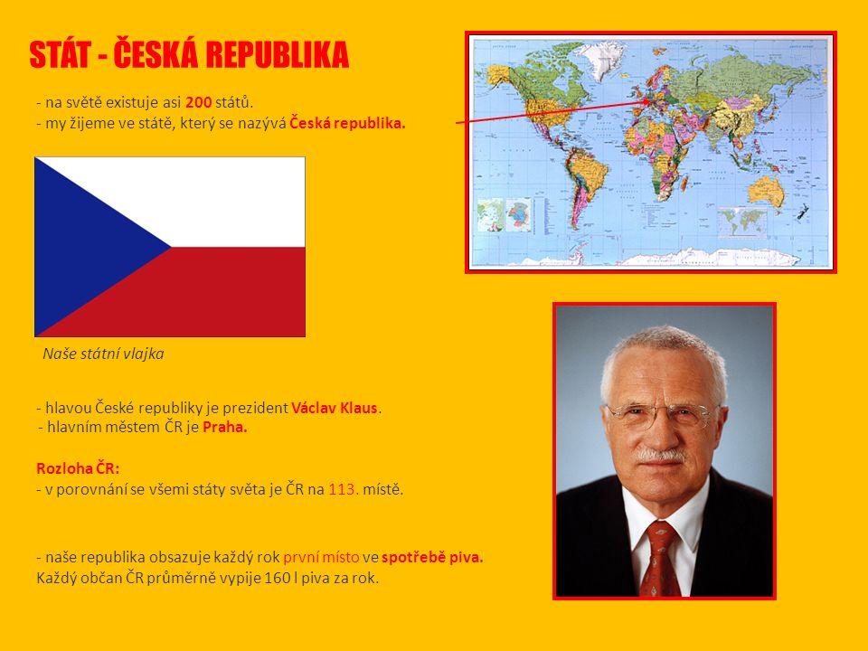 STÁT - ČESKÁ REPUBLIKA - na světě existuje asi 200 států.