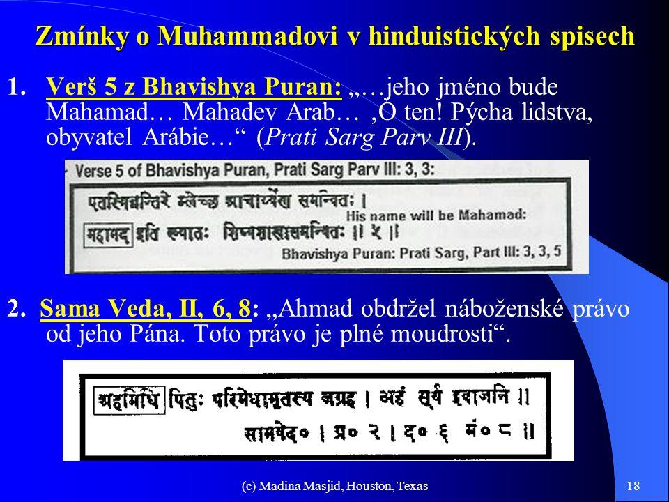 Zmínky o Muhammadovi v hinduistických spisech