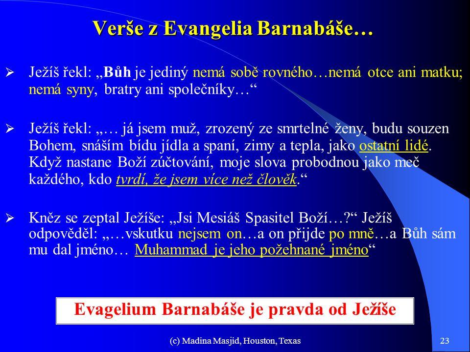Verše z Evangelia Barnabáše…