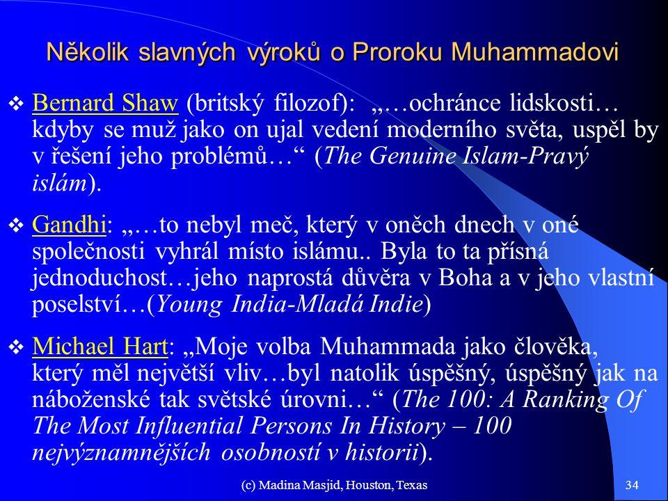 Několik slavných výroků o Proroku Muhammadovi