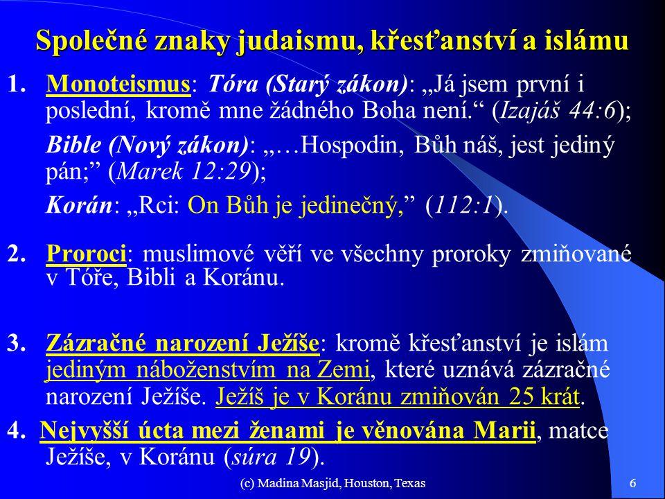 Společné znaky judaismu, křesťanství a islámu