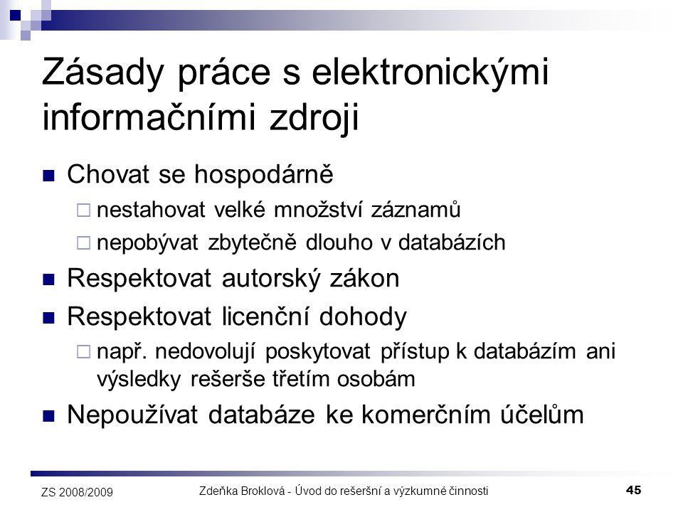 Zásady práce s elektronickými informačními zdroji