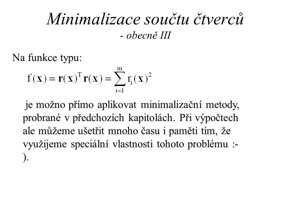 Minimalizace součtu čtverců - obecně III