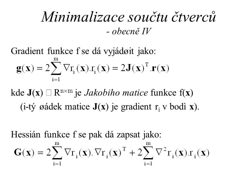 Minimalizace součtu čtverců - obecně IV