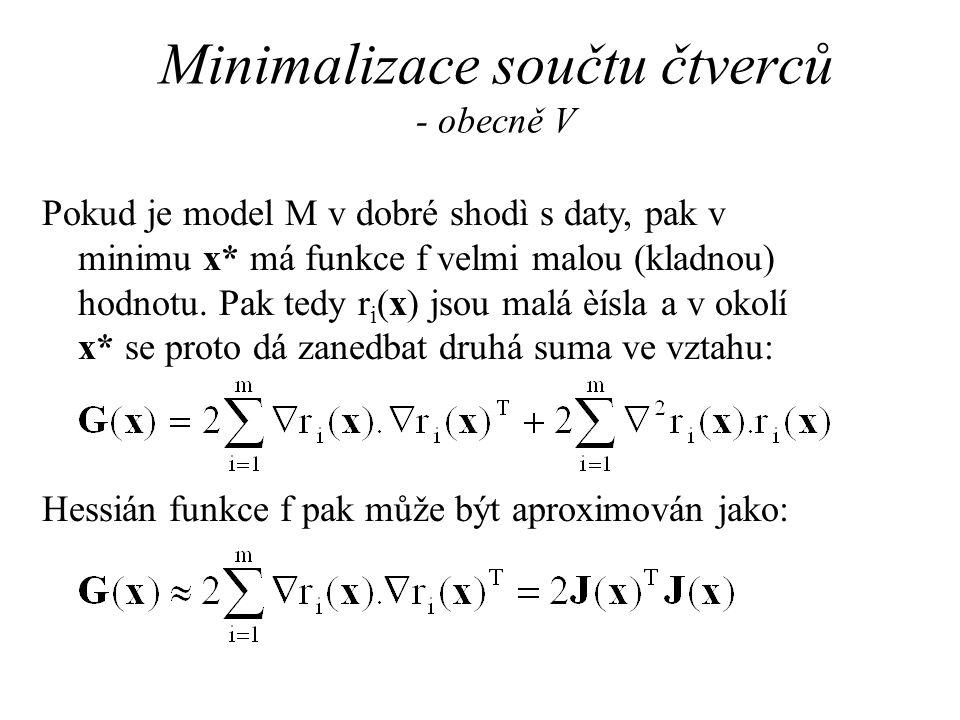 Minimalizace součtu čtverců - obecně V