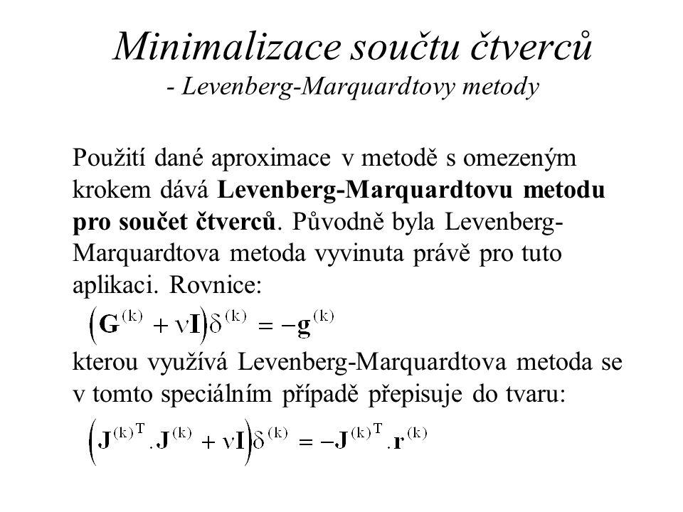 Minimalizace součtu čtverců - Levenberg-Marquardtovy metody