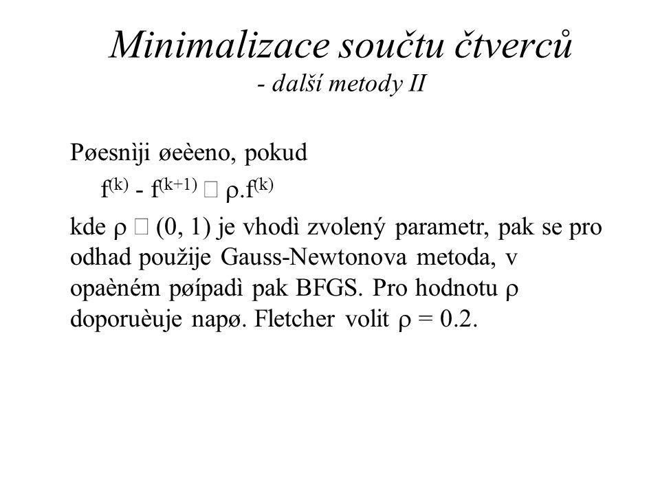 Minimalizace součtu čtverců - další metody II