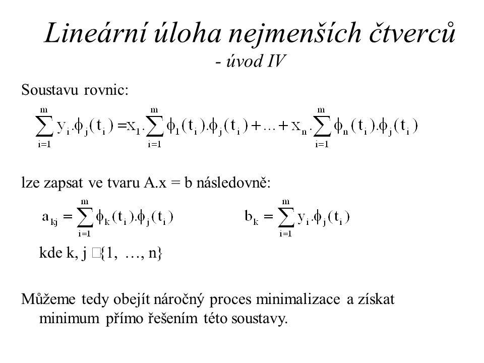 Lineární úloha nejmenších čtverců - úvod IV