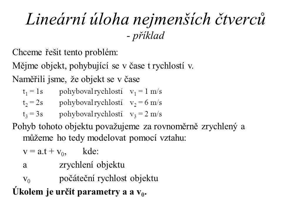 Lineární úloha nejmenších čtverců - příklad