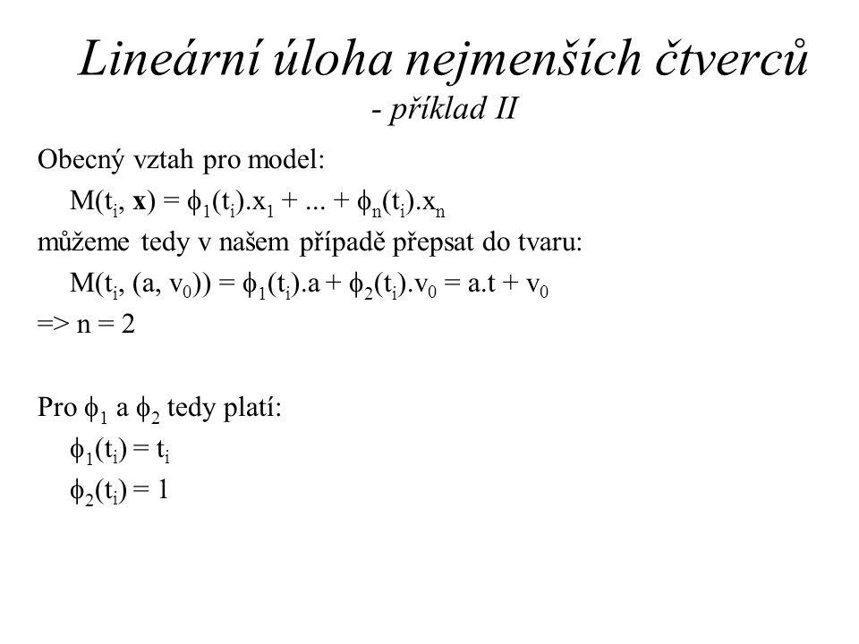 Lineární úloha nejmenších čtverců - příklad II